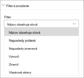 Novinky filter a zoradenie