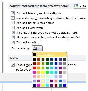 Nastavenie mriežky farieb v dialógovom okne Možnosti programu Excel