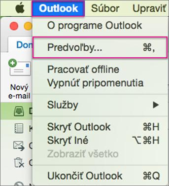 Ponuka Outlooku > Predvoľby