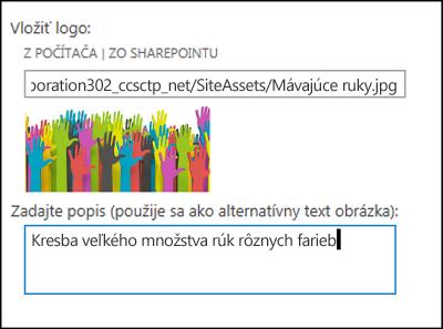 Dialógové okno nadpisu a loga novej lokality v SharePointe Online so zobrazením postupu vytvorenia alternatívneho textu obrázka loga