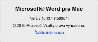 Snímka obrazovky zobrazujúca stránku sinformáciami o Worde vo Worde pre Mac