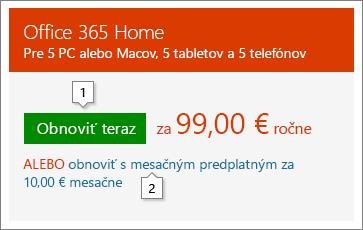 Snímka obrazovky smožnosťami obnovenia zobrazená na stránke Office.com/renew. Toto je iba príklad, ceny sa môžu meniť.