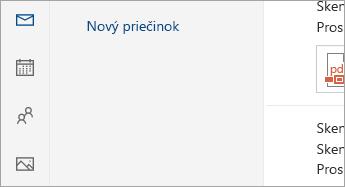 Snímka obrazovky s tlačidlami Pošta, Kalendár, Ľudia a Fotografie v spodnej časti navigačnej tably