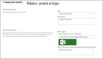 Popis lokality a logo lokality alttext v Projecte Online