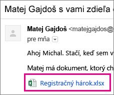 E-mail pozývajúci príjemcu na zdieľanie dokumentu