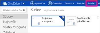 Kliknutie na položku Zdieľanie vo OneDrive