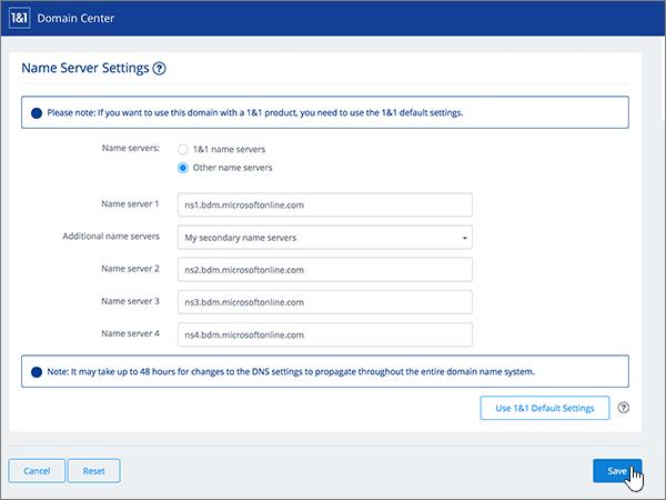Kliknutie na položku Save (Uložiť) na stránke Name Server Settings (Nastavenia názvového servera)