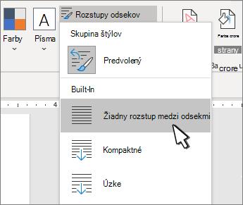 Nastavenie jednoduchého miesta v dokumente