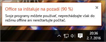 Dialógové okno so zobrazením inštalácie balíka Office zastavenej na 90%