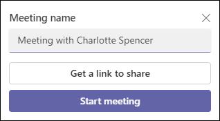 Snímka obrazovky s webovou aplikáciou Teams Meet Now.