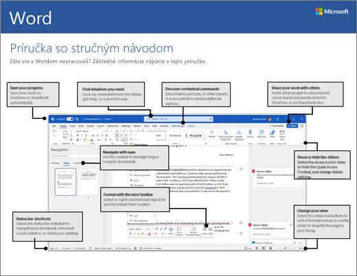 Príručka so stručným návodom pre Word 2016 (Windows)