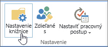 Tlačidlá nastavení knižnice SharePoint na páse snástrojmi