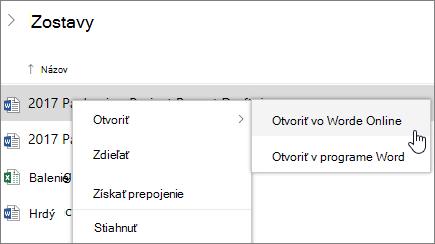 Otvoriť súbor v aplikácii Word Web App v službe OneDrive