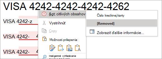 Snímka obrazovky so zvýrazneným citlivým obsahom vo Worde