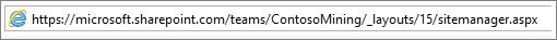 Panel s adresou Internet Explorera s vloženým textom sitemanager.aspx
