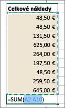 Po výbere položky Automatický súčet sa zobrazí oblasť výberu a vzorec