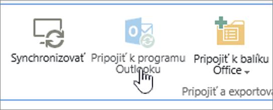 Pás s nástrojmi s neaktívnym tlačidlom Pripojiť k programu Outlook, ktoré je zvýraznené