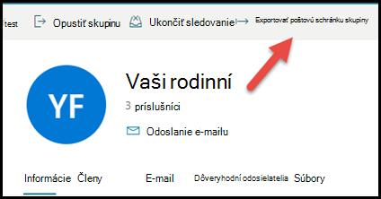 Karta skupiny v aplikácii Outlook.com šípkou nahor a doprava na exportovanie poštovej schránky skupiny.