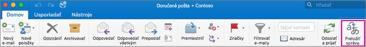Tlačidlo Preložiť na páse s nástrojmi v Outlooku pre Mac