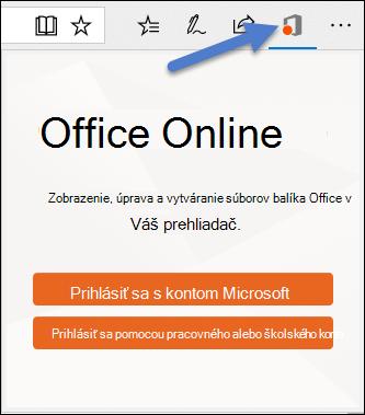 Dialógové okno prihlásenia rozšírenie Office Online v Edge