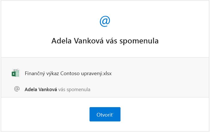 Snímka obrazovky se-mailovým upozornením na zmienku zExcelu