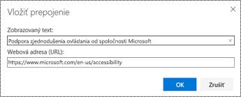 Dialógové okno Hypertextové prepojenie v Outlooku na webe.