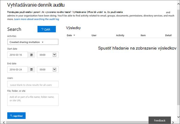 Výkaz aktivít služieb Office 365 filtrovaný na tvorbu pozvánky