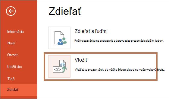 Vloženie prezentácie programu PowerPoint
