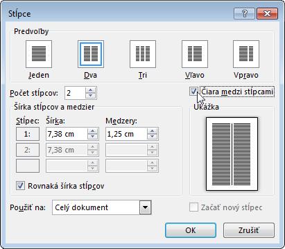 Dialógové okno Stĺpce so začiarknutou položkou Čiara medzi stĺpcami