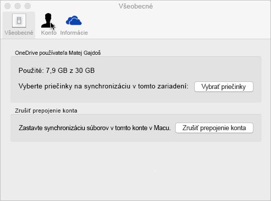 Výber položky Synchronizovať priečinok vo OneDrive pre Mac