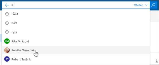 Snímka obrazovky s navrhovanými ľuďmi vo výsledkoch vyhľadávania