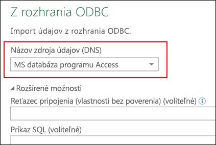 Power Query – konektor ODBC – podpora pre výber používateľského/systémového DSN
