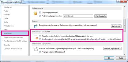 Synchronizovanie informačných kanálov RSS