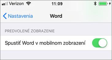 Výber možnosti spustenia Wordu v mobilnom zobrazení