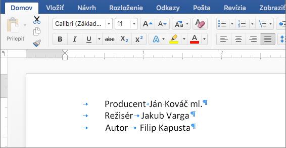 Príklad zobrazujúci text po odstránení zarážok