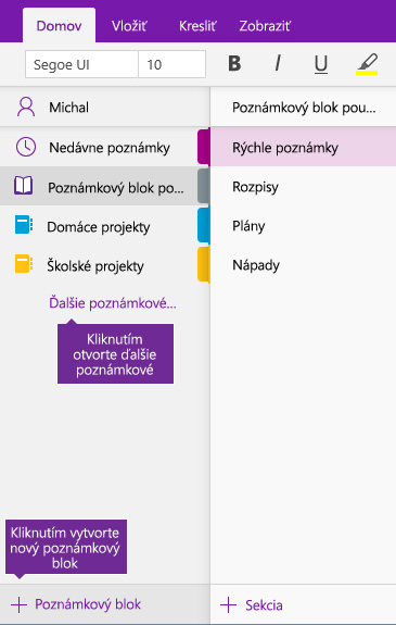 Snímka obrazovky spostupom vytvorenia nového onenotového poznámkového bloku