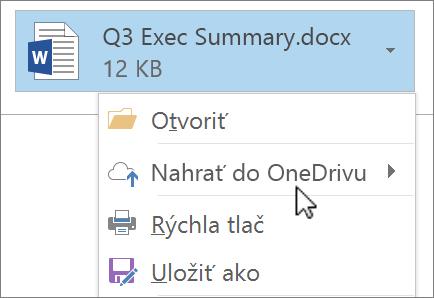 Snímka obrazovky s oknom na písanie správy v Outlooku zobrazujúca priložený súbor s vybratým príkazom Nahrať.