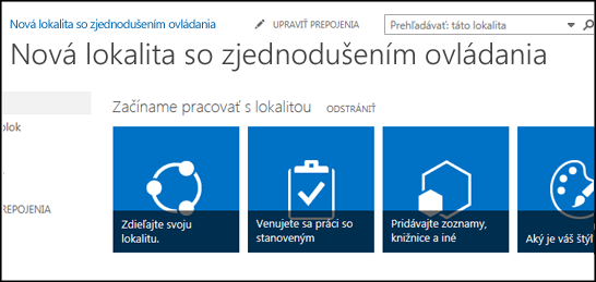 Snímka obrazovky s novou lokalitou SharePoint so zobrazením dlaždíc, ktoré slúžia na prispôsobenie lokality