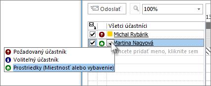 Kliknite na ikonu naľavo od mena akliknite na položku Prostriedky.