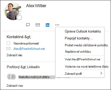 Vyberte položku Prepojiť kontakty a aktualizujte informácie z iného záznamu kontaktu.