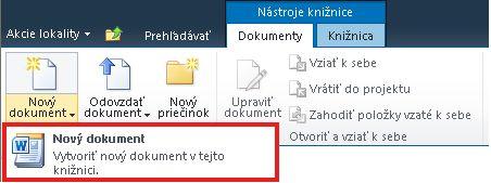 Pridávanie nového dokumentu do knižnice dokumentov