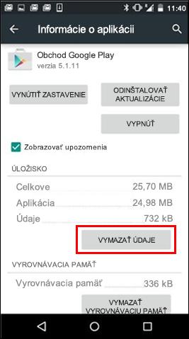 Tlačidlo Vymazať údaje