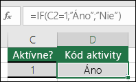 """Bunka D2 obsahuje vzorec =IF(C2=1;""""ÁNO"""";""""NIE"""")"""