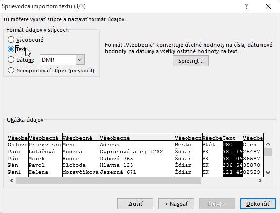 VSprievodcovi importom textu je zvýraznená možnosť Text pre položku Formát údajov vstĺpcoch.