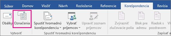 Zvýraznená možnosť Menovky na karte Korešpondencia.