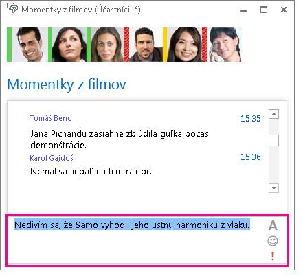 Snímka obrazovky s oknom hovorne zobrazujúcim správu so zmeneným písmom a pridaným emotikonom