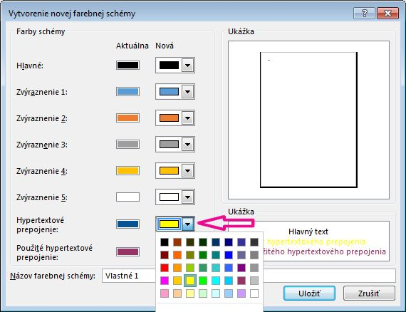 Zmena farieb hypertextových prepojení vytvorením novej publisherovej farebnej schémy