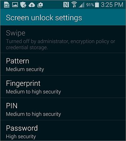 Nastavenie pre odomknutie obrazovky pre Android