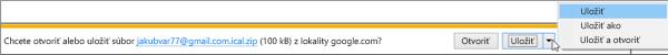 Vyberte umiestnenie na uloženie exportovaného kalendára Google.