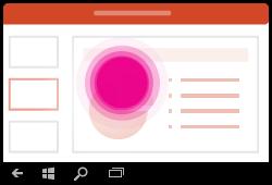 Gesto na vymazanie výberu textu v PowerPointe pre Windows Mobile